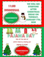 Early Dismissal and Pajama Day December 20th