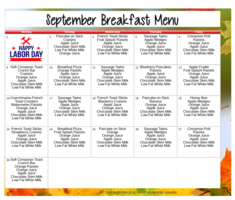 September Breakfast Menu