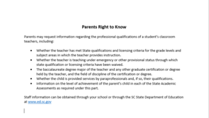 Parents Right to Know about Professional Qualifications