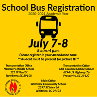 School Bus Registration for 2020-21 to be held July 7-8