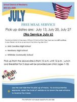 July Free Meal Service Schedule
