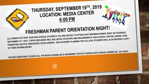 Freshman Parent Orientation Night!  Sept. 19