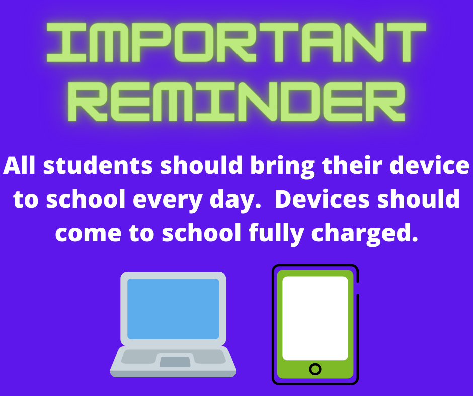 Please charge and send your child's device to school each day.