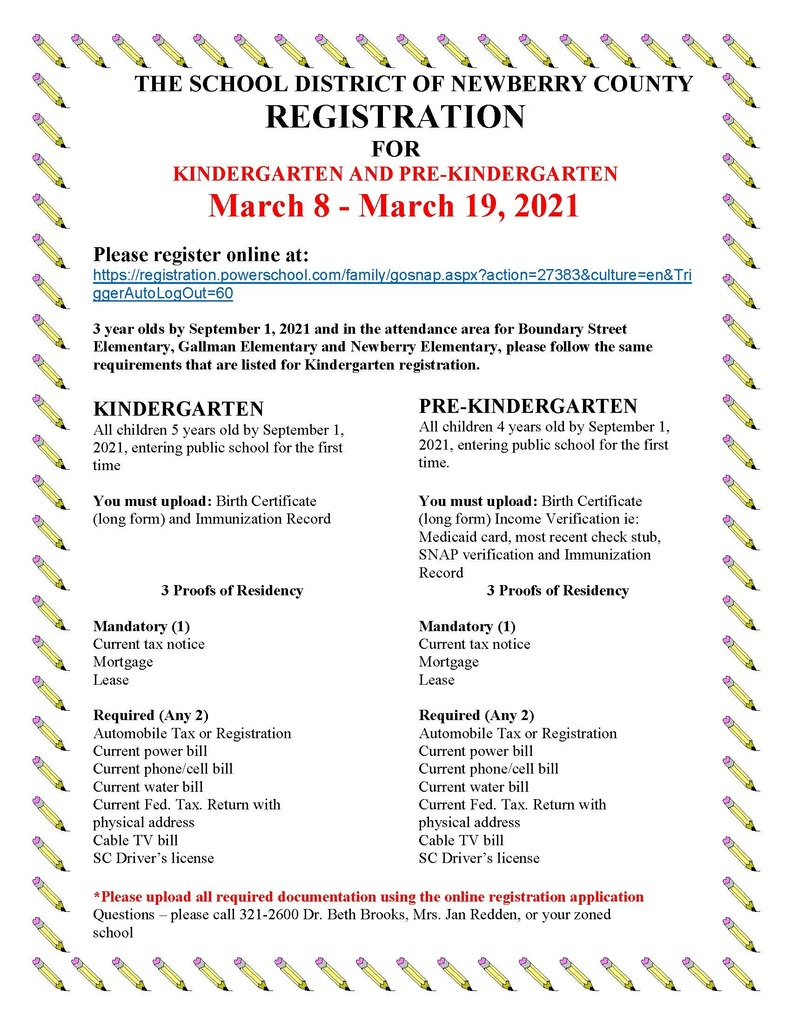 Pre-K & K  2021-2022 Registration English