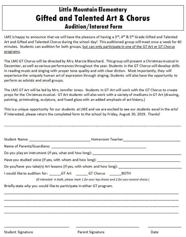 3rd-5th Grade GT Art & Music Audition/Interest Form