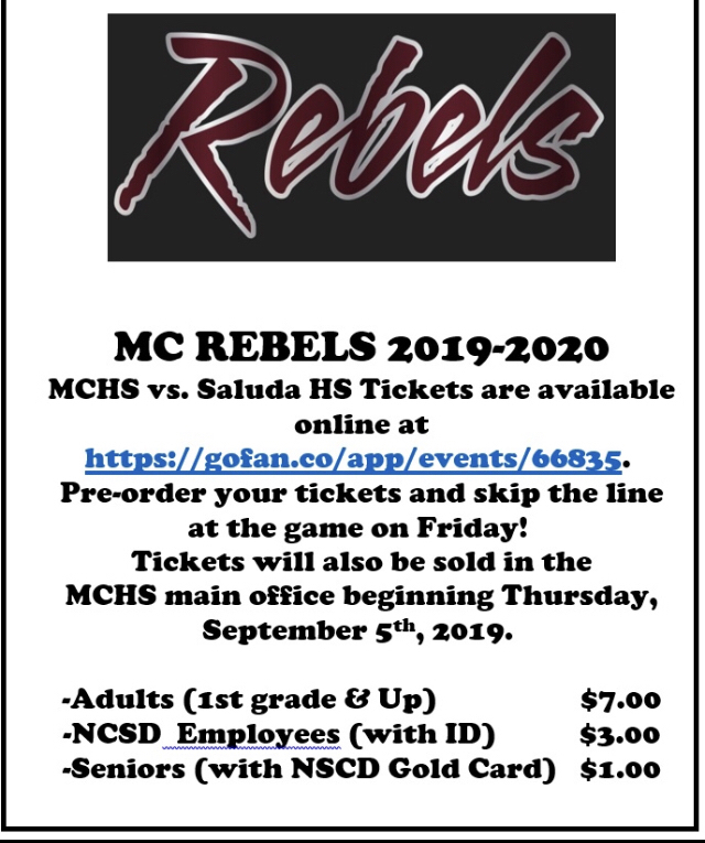MCHS FOOTBALL TICKETS