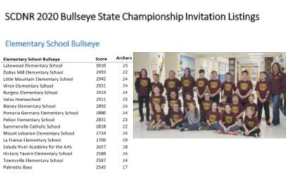LME Invited to the SCDNR 2020 Bullseye State Championship