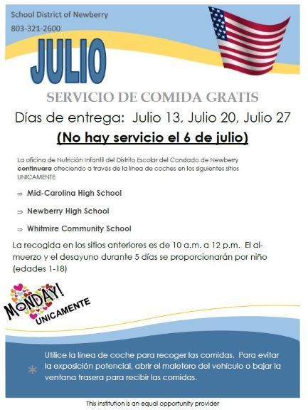 July Meal Service Spanish