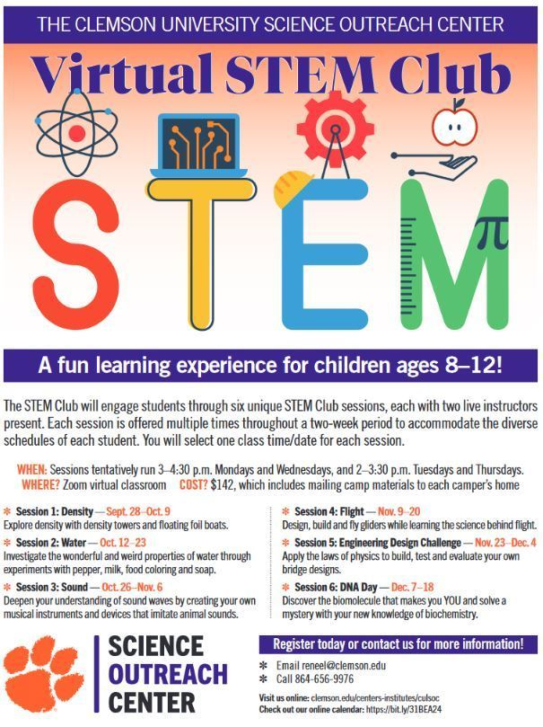 Clemson Virtual STEM Club sessions