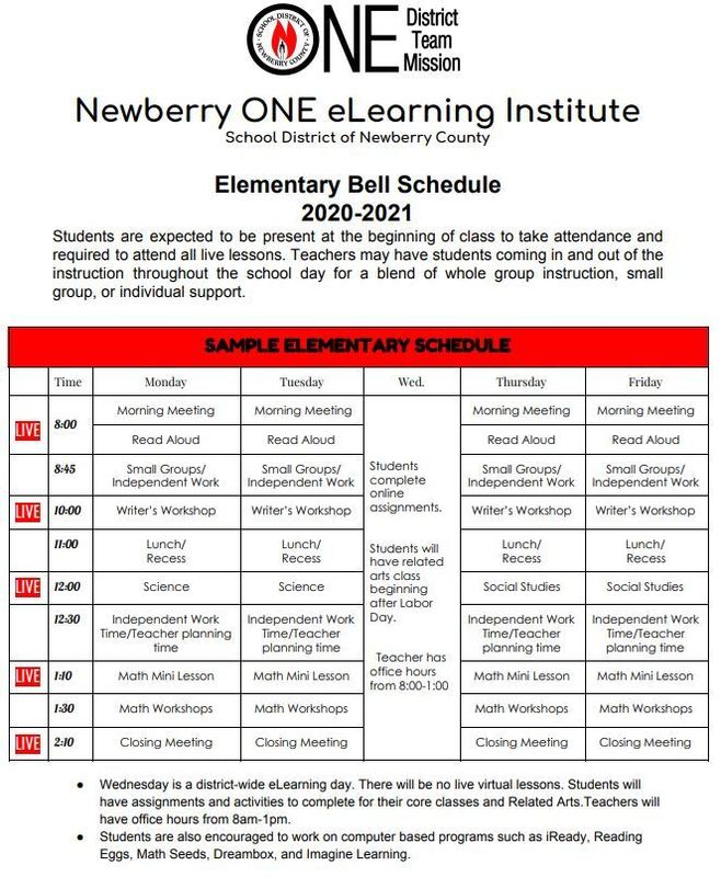 NewberryONE Bell Schedules